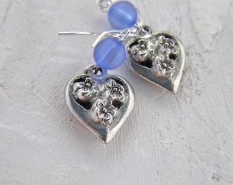 Heart Earrings, Everyday Earrings, Gift For Her, Flower Earrings, Blue Jewelry, Silver Heart Earrings, Heart Dangle Earrings