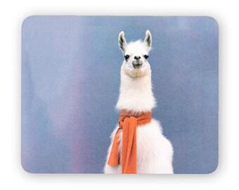 Llama scarf - funny desk mouse pad, meme mouse pad, comptuer mouse pad, desk accessory mouse mat 3M034