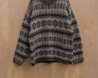 vtg Wool Thick Knit Sweater Nordic Fair Isle by Fog Cutter oversized brown L/XL