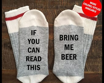 Beer Socks, If You Can Read This Bring Me BEER - Beer Me Socks, Socks With Sayings, Funny Socks with Sayings, Stocking Stuffer, Socks Mens