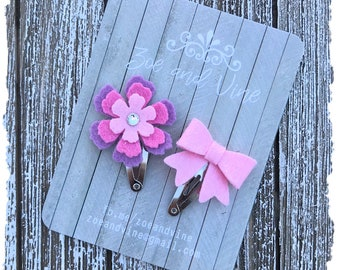 READY TO SHIP, Pink Lavender Wool Felt Flower Mini Bow Clip Set, Baby Clips, Infant Girls Adult Mini Snap Clips