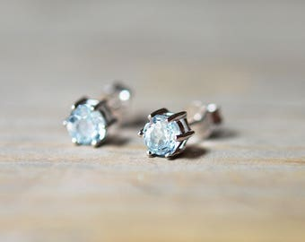 Blue Topaz Earrings, Gemstone Earrings, Sky Blue Topaz Studs, December Birthstone Earrings, Sterling Silver Stud Earrings, Something Blue