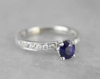 Sapphire and Pave Diamond Engagement Ring, Modern Sapphire Ring, Anniversary Ring 3LRN53-D