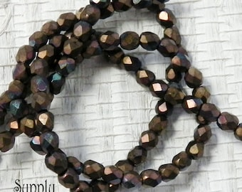 3mm Faceted Firepolished Round Beads - 50 pieces - 906 - Matte Bronze Vega