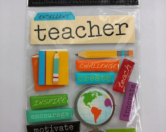 Teacher Scrapbook Stickers from Me & My Big Ideas, Soft Spoken, Back to School, Excellent Teacher, School Stickers, SS564