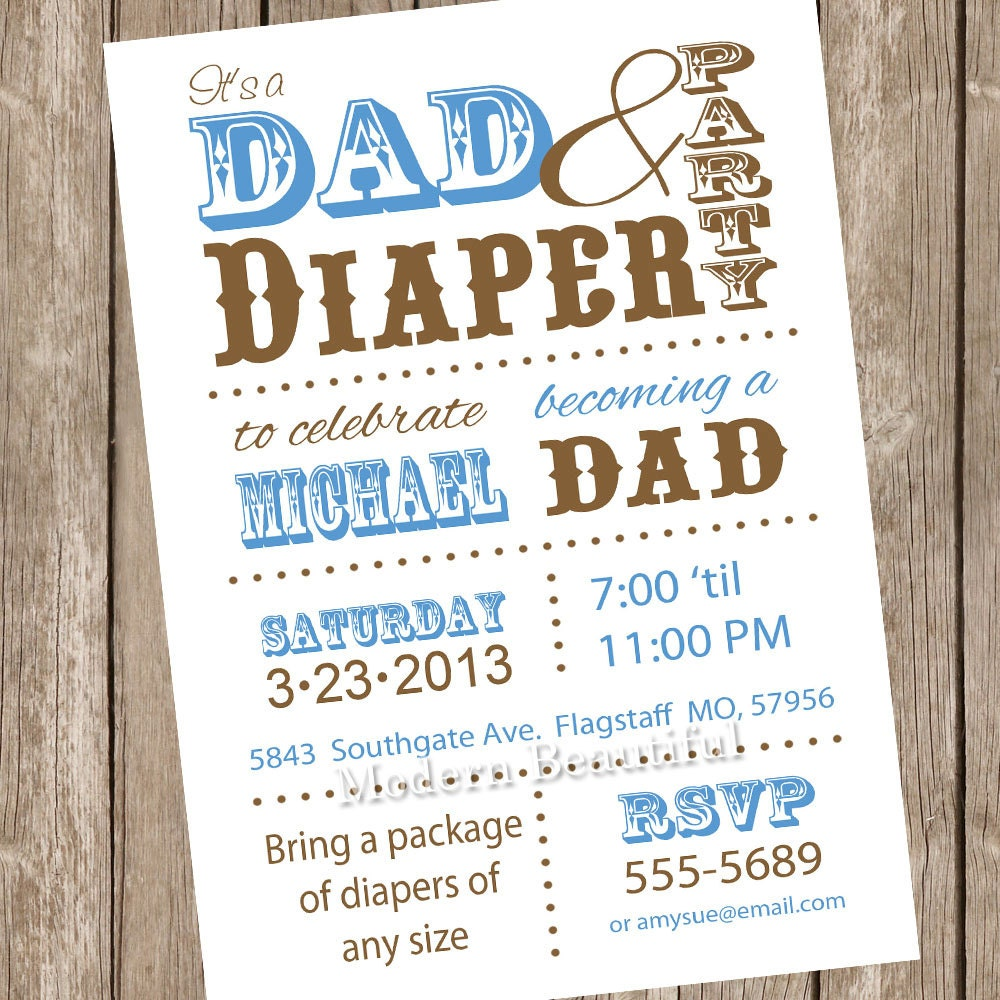 Dad diaper baby shower invitation diaper baby shower dad zoom filmwisefo Images