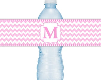 Monogram Water Bottle Labels - CUSTOM Printable Chevron Water Bottle Labels, YOU print, you cut, DIY water bottle labels