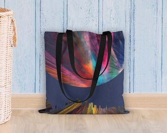 Abstract tote bag, Wearable art, Spun polyester shoulder bag, Gift for women, Unique accessories, Photo tote bag, Market grocery bag, Bluna1