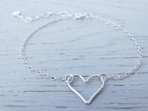 Silver Heart Bracelet, Sterling Silver