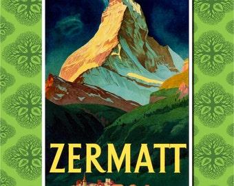 Zermatt Switzerland Travel Poster Wall Decor (7 print sizes available)