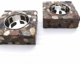 Large Stone Dog Feeder, dog water station, raised dog bowl, elegant doggie diner, large dog bowl, elevated dog feeder