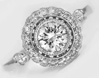 Edwardian Style Diamond Engagement Ring 1.53Ct. SI1 F