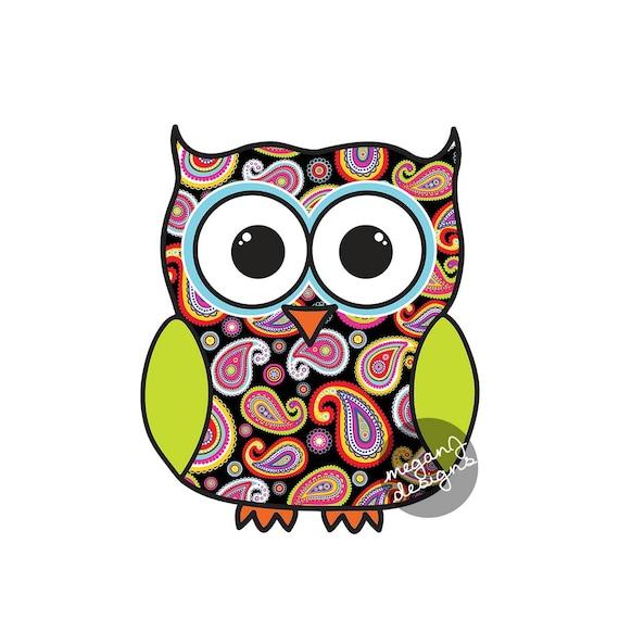 Black Paisley Owl Car Decal Colorful Cute Owl Bumper Sticker