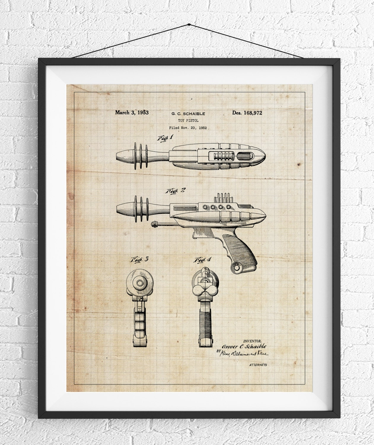 Toy gun patent print game room art toy art blueprint vintage toy gun patent print game room art toy art blueprint vintage patent poster toy pistol patent kids room boys room wall art industrial malvernweather Gallery