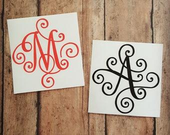Single Letter Monogram Decal, Elegant Scroll Monogram, Solid Color Monogram, Monogram Decal, Laptop Monogram Decal, Yeti Decal