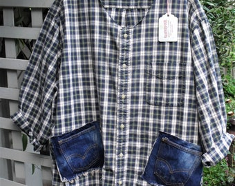 Garden Smock/ Navy Plaid Cotton/ Restructured Shirt/ 2X Cotton Smock/ Denim Trim Smock/ Upcycled Plus Size Shirt/ Sheerfab Handmade