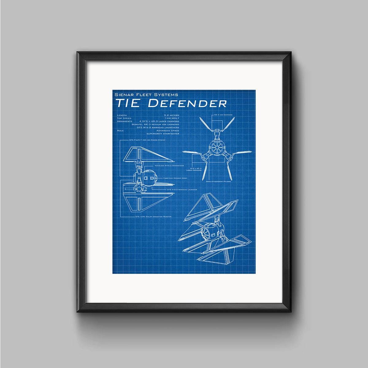Star Wars TIE Defender schematische Kunstdruck TIE Fighter
