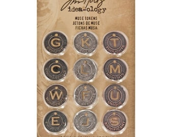 Tim Holtz Idea-Ology muse tokens - inspirational tokens - coin charms - round  coins - muse coins - antique color metal