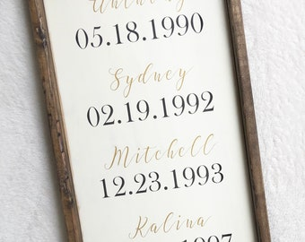 Family Birth Dates | Wooden Sign