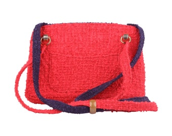 Authentic CHANEL Vintage Unique Prototype Red Blue Wool Tweed 1960s Shoulder Bag