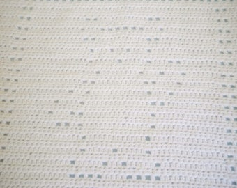 Crocheted Baby Afghan Filet Stitch Block Pattern White