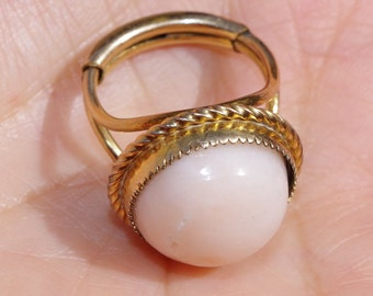 Blush Angel Skin Coral Vintage Gorgeous 14k GF 17MM Round Dome Thick Band Ring