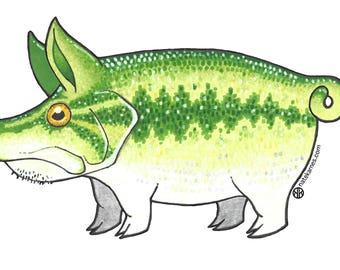 Largemouth bass pig decal