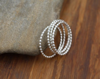 Sterling Silver Beaded Band Stacking Ring(s) - Thick Beaded Rings - 1.3 mm Sterling Beaded Rings - Beaded Midi Rings