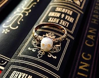 CUSTOM hand carved pearl skull ring, Georgian gold floral shank statement ring, solid 14k gold memento mori ring, antique style vanitas ring