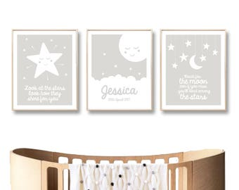 Personalised Name Nursery Print, Moon Stars Printable Art, Digital Printable Baby Wall Art Poster, Baby Girl Boy / INSTANT DOWNLOAD
