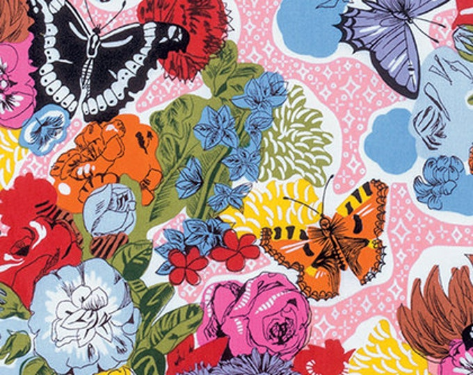 SPARKLE BED Day Time Butterfly Floral Red Multi Quilt Fabric - by the Yard, Half Yard, or Fat Quarter Fq from Fast Friends by Juliana Horner