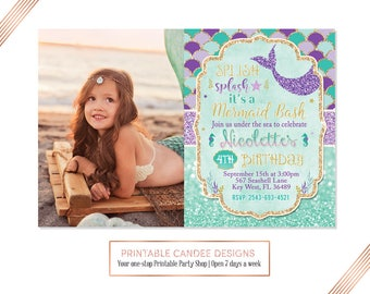 Splish Splash Mermaid Invitation Mermaid Birthday Invitation Teal Purple Gold Under The Sea Invitation Mermaid Birthday Party