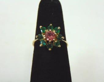 Womens Vintage Estate 14K Gold Ring w/ Emerald & Rhodolite Stones 2.9g E3001