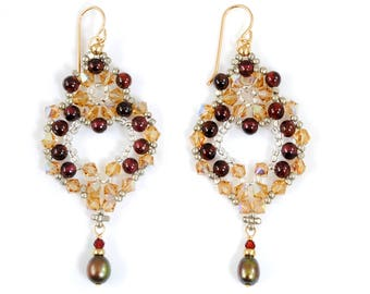 Big Lacy Garnet Earrings with Freshwater Pearls and Swarovski Crystal in 14K Gold Filled; Elegant Victorian Style Jewelry; Romantic Gift