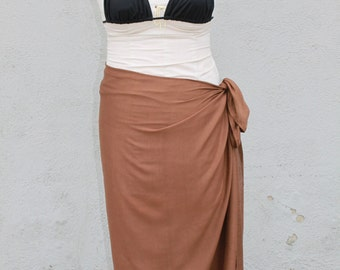 Medium Brown color-Pareo-solid color-full and half  sized-rayon- sarong-sale, pareau, Tahitian costume, Tahitian pareo