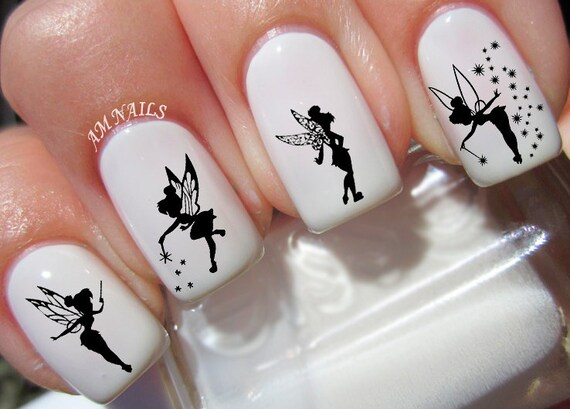 40 tinkerbell fairy nail decals. Black Bedroom Furniture Sets. Home Design Ideas