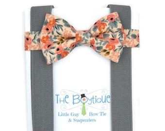 Peach Floral Bow Tie, Medium Grey Suspenders, Men's, Toddler,  Adult, Kids, Baby, Boy, Ring Bearer Gift, Les Fleurs Rosa Peach, Rifle Paper