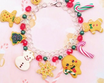 bracelet christmas sweeties polymer clay