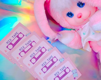 Pastel Kawaii Mix Tape Stickers Set