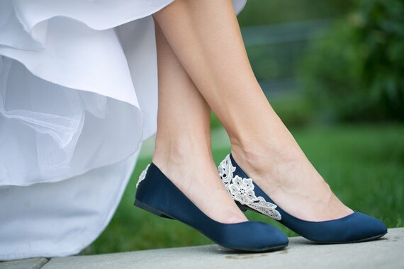 Wedding Shoes Navy Blue Bridal Ballet Flats Low Wedding