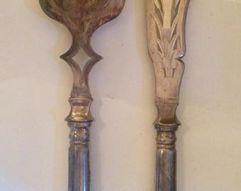 Rare Antique Fine Dining French Fish Servers A Knife and Fork Combined Set.