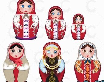 Russian Dolls, Matryoshka Dolls, Babushka Dolls in Red - Vector Clipart Collection