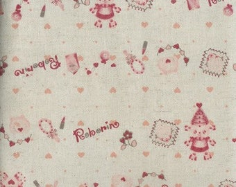 Pink Robots Roborin Girl trefle Japanese Kawaii Fabric FQ