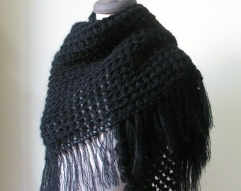 Black Crochet Shawl TRIANGLE Scarf Wrap Stole Handmade Gift winter fashion.