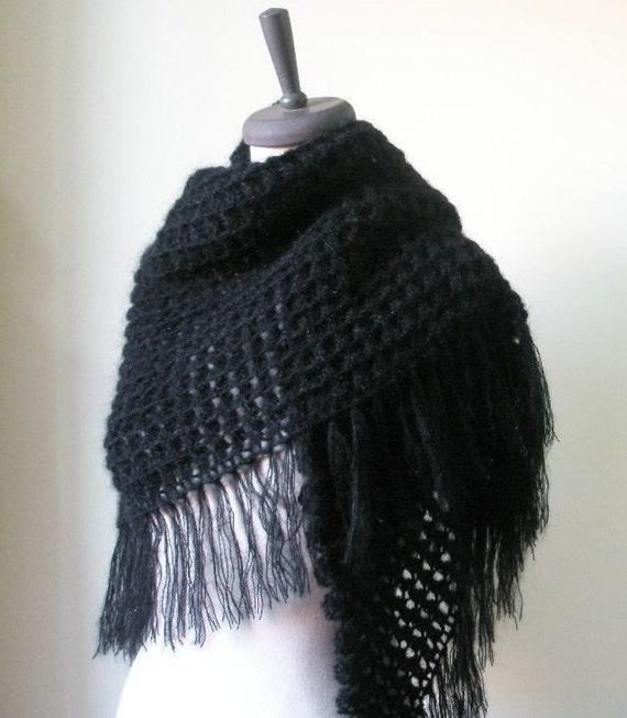 Schwarz häkeln Schal Dreieck Schal wickeln Stola handgemachtes