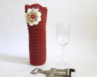 Terra cotta red with White and Taupe accent flower Crochet Wine holder, wine tote