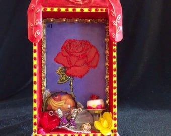 Shrine Nicho Retablo Loteria La Rosa Rose Miniature Altar