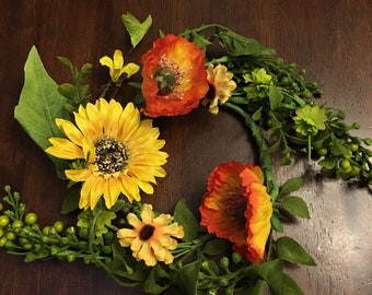 Sunflower and Peony Candle Ring Wreath