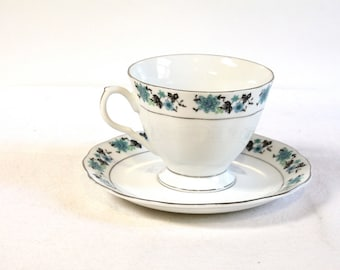Vintage White and blue floral Teacup and saucer set