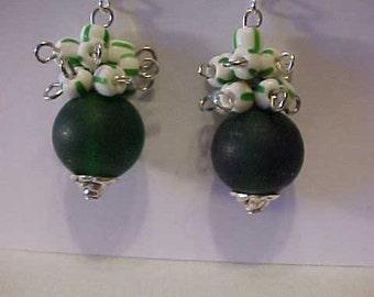 VINTAGE Beads EARRINGS~Like WINTERGREEN Candy~Vintage Beads from Germany~Drop Earrings~Pierced Ears~Lovely Earrings